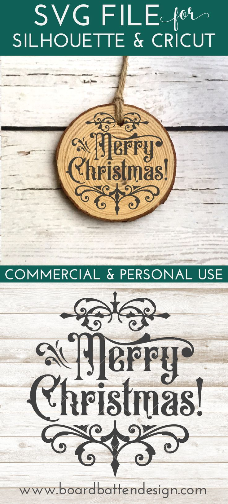 Gothic Christmas Ornament SVG File Merry Christmas in