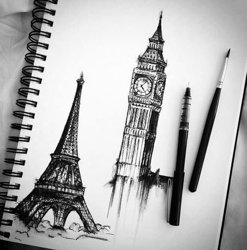 Sights paris london eiifel big ben art black and white