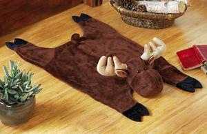 Stuffed Plush Moose Northwoods Decorative Accent Rug Woodland Cabin Lodge Decor