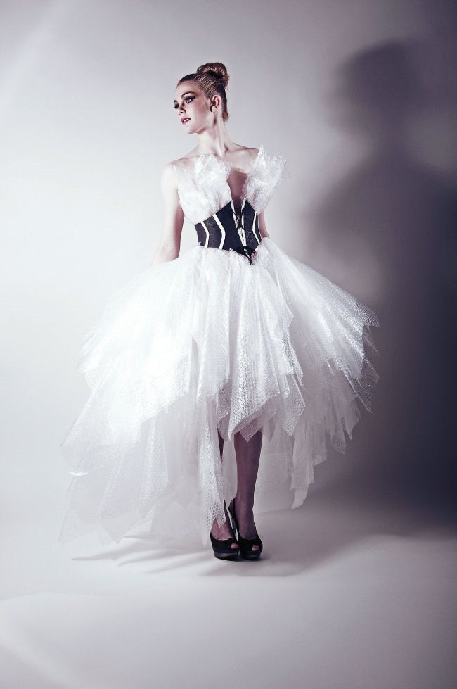 Neo-Victoriana by Dumpster Design.  A wedding dress design featuring box-packing bubble wrap combined with a corrigted cardboard corset.