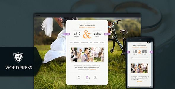 Just Married - Wedding WordPress Theme   http://themeforest.net/item/just-married-wedding-wordpress-theme/7743193?ref=damiamio       Just Married is a stunning, friendly and easy to use wedding WordPress theme for any lovebirds that are planning to get married. Crafted with pixel perfect details, this wedding WordPress theme will let you document and share your wedding experience with your friends and family in an original out of the box way.   IMPORTANT: Support is offered exclusively in…