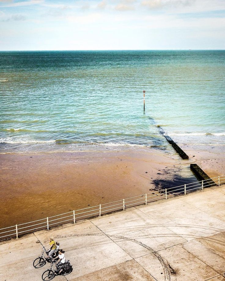 Beautiful day at the beach in Margate, (Kent) in England. Blue water and sandy…