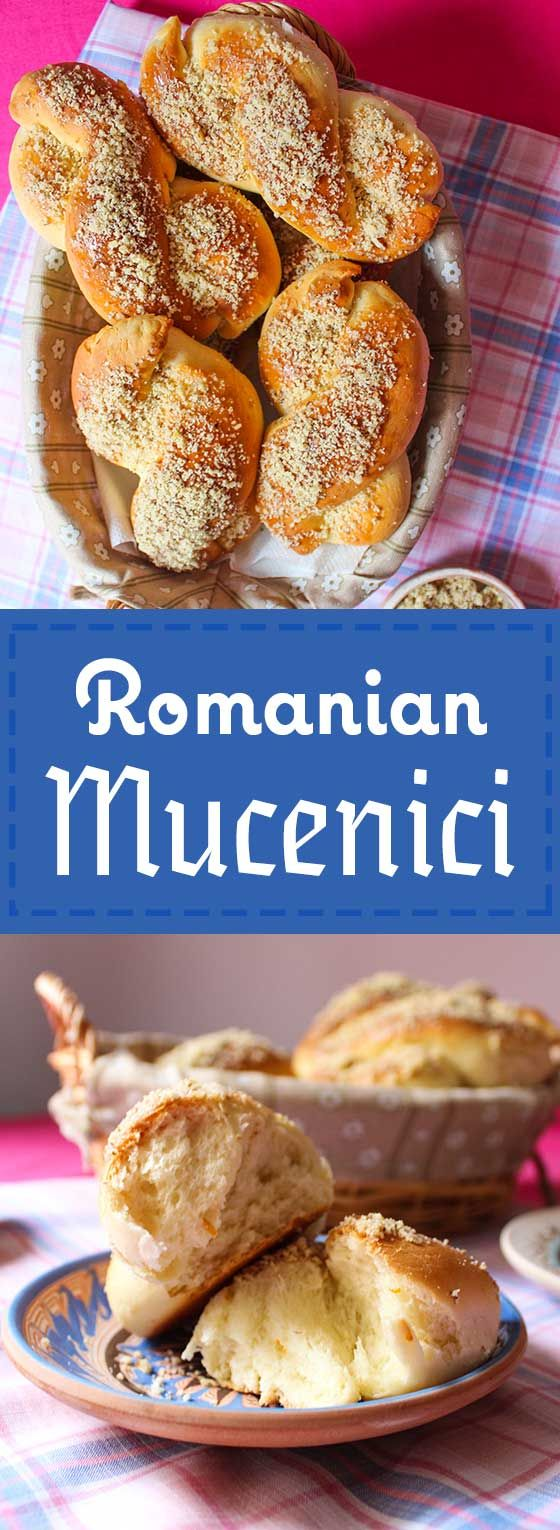 Romanian Mucenici, or sweet breads with honey and walnuts.