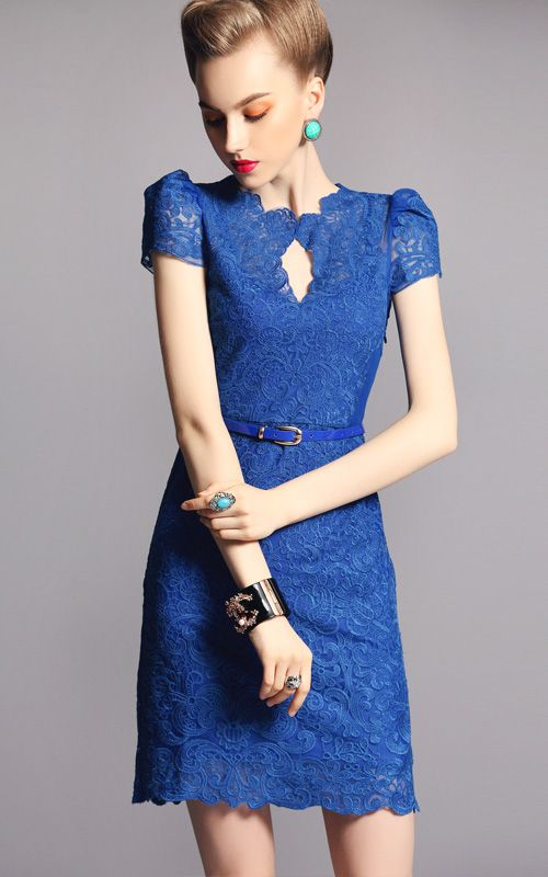 Blue Short Sleeve Scallop U Neckline Lace Bodycon Dress