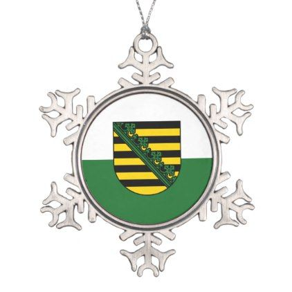 Flag of Saxony Snowflake Pewter Christmas Ornament - stripes gifts cyo unique style
