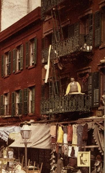 NYC downtown, Mulberry Street, 1900 (autochrome photograph) found on Pinterest. I was born very close to this area. Beautiful wrought iron fire escapes.