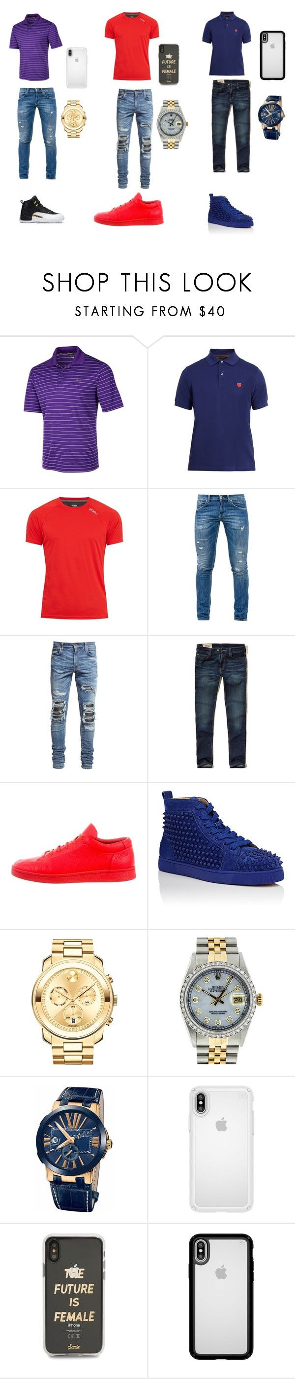 """""""Out with bae's and bros """" by theyh8tiaa ❤ liked on Polyvore featuring Greg Norman, Paul Smith, 2XU, Dondup, AMIRI, Hollister Co., Balenciaga, Christian Louboutin, Movado and Rolex"""