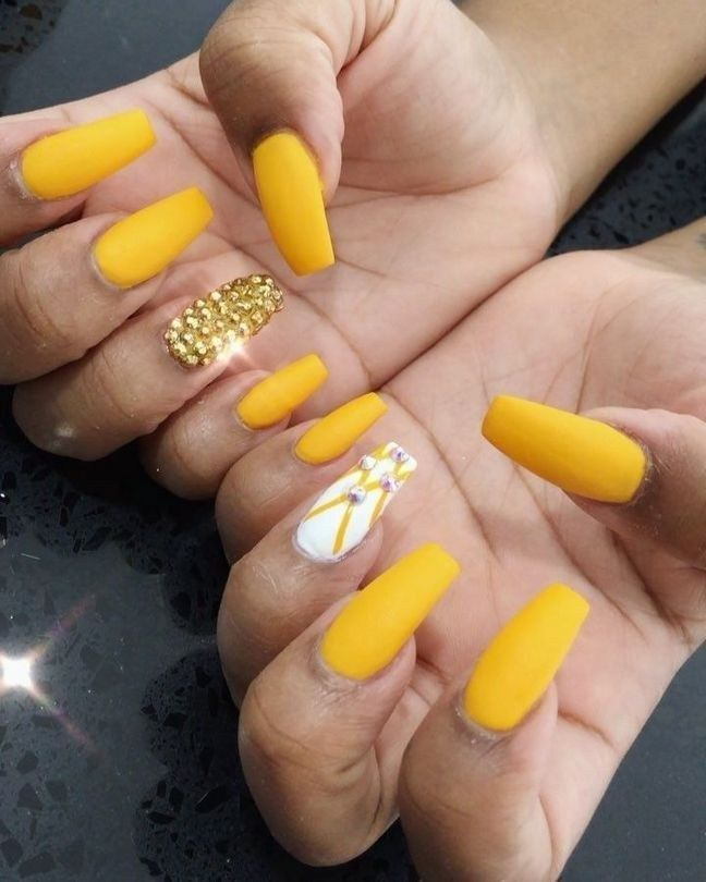 35 Ruthless Mustard Yellow Coffin Nails Designs Strategies Exploited Modifikationcar Com Yellow Nails Design Yellow Nails Summer Acrylic Nails