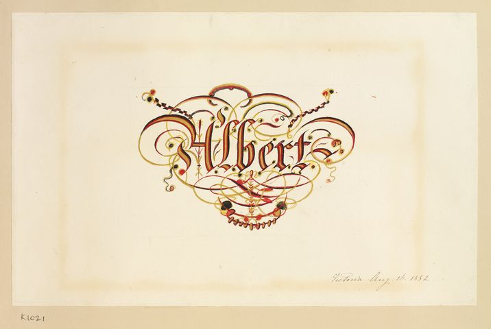 Decorative name plate: Albert  dated 26 Aug 1852 by Empress Friedrich, consort of Friedrich III, Emperor of Germany & King of Prussia, 1st daughter of Queen Victoria (1840-1901)