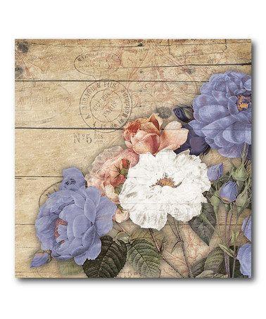 Another great find on #zulily! White & Purple Floral II Canvas #zulilyfinds