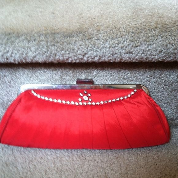 Red clutch purse New cute little. Red purse with diamond on front long strap Bags Clutches & Wristlets