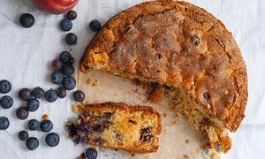 A Cake for Midsummer - Nigel Slater: Blueberries and peaches rippled through a ground almond and flour cake mix - sounds heavenly!