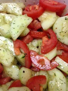 So simple and so delicious!! You will need: 2 cucumbers-peeled and sliced or quartered, 5 Roma tomatoes-quartered, 2 tablespoons extra virgin olive oil, 1 tablespoons rice vinegar, Dill seasoning and salt and pepper to taste. Combine all above ingredients