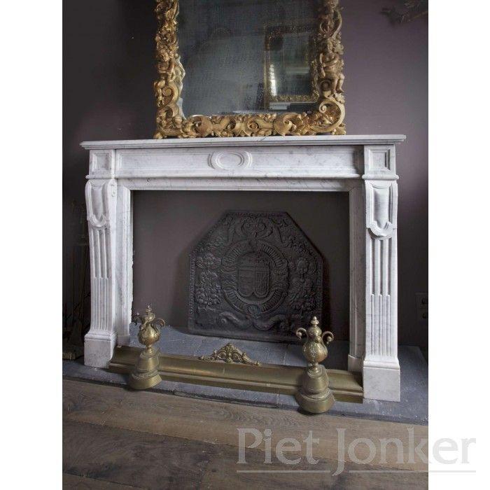 Carrara marmeren  19e eeuwse schouw (verkocht)