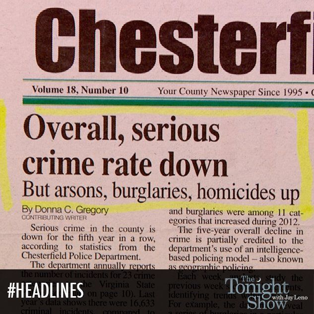 Oh, only arson, burglaries and homicides are up. Nothing serious. #Headlines