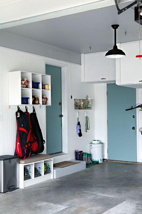 Painted doors in garage via I Heart Organizing