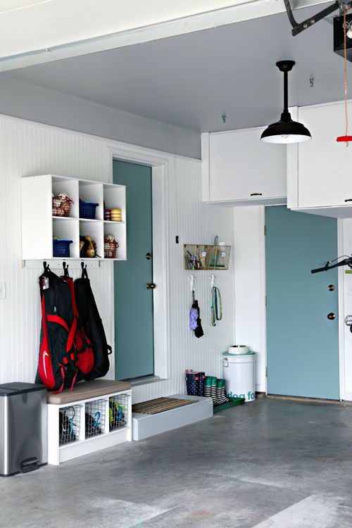 Painted doors in garage via I Heart Organizing