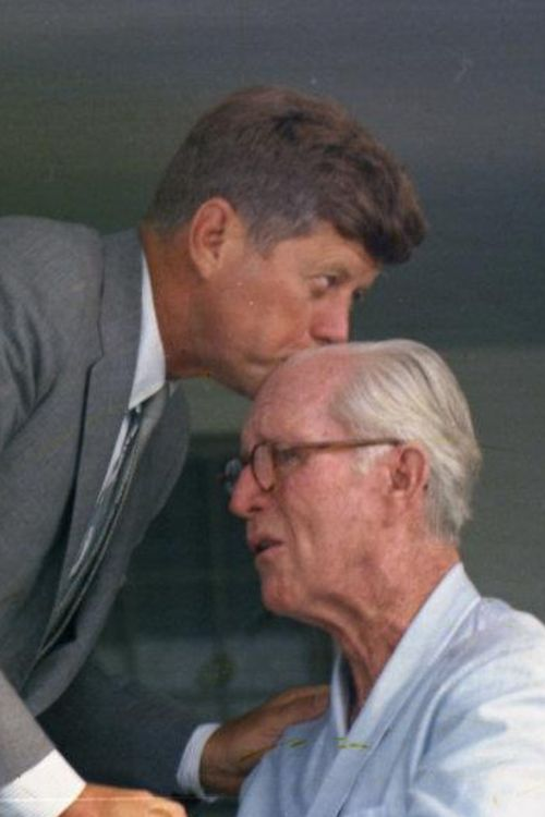 This is the last time JFK saw his father,in fact he kissed him once and walked away,then he did something he had never done before,he turned around came back and kissed him again.Very touching.....