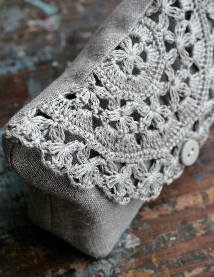 Linen clutch, pouch, purse, makeup bag -- crocheted detail closure. $36,00, via Etsy.