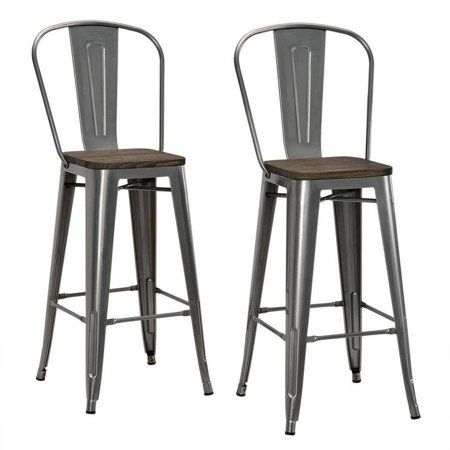 Free Shipping Buy Dhp Luxor 30 Metal Bar Stool With Wood Seat Set
