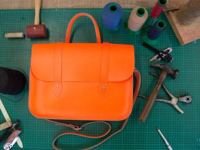 Neon Orange Leather Music Bag/Case