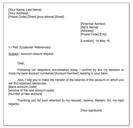 Account closure request letter http exampleresumecv for Account closure letter template