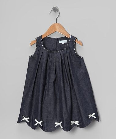 Take a look at this Denim Pearl Bow Scalloped Dress - Infant, Toddler & Girls by La Fleur & Le Papillon on #zulily today!