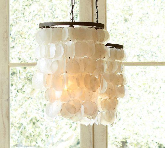 Capiz Chandelier - Small | Pottery Barn possible bedroom lighting