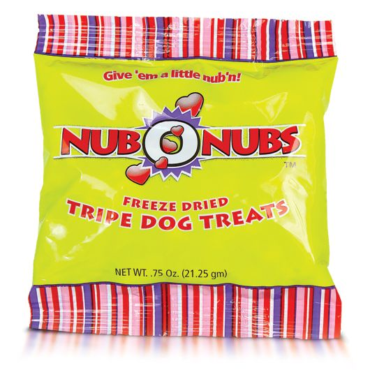 Nubonubs 100% Green Tripe Does your favorite friend need a little nub'n? Do you need a healthy treat for clicker training? Just want to give your dog or cat a nutritious snack that is better than anything in a store?   This is a 100% pure beef tripe treat that they will love. Each bag contains 25-30 individual pieces of freeze-dried goodness. Make sure you count your fingers when you're done!