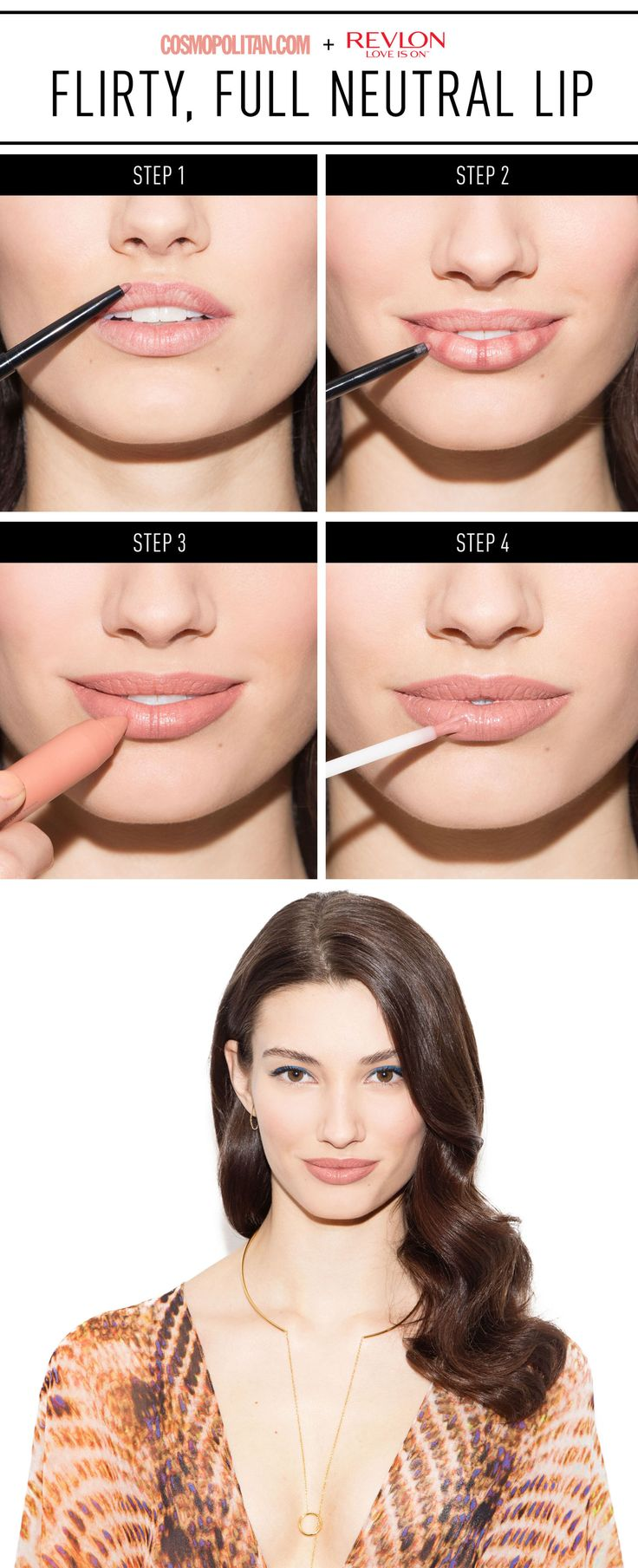 "The Must-Use Trick to Making Your Lips Look Even Fuller   - Cosmopolitan.com  Revlon ColorStay Lipliner in ""Nude"" Revlon ColorBurst Matte Balm in ""Complex""  Revlon Ultra HD Lip Lacquer in ""HD Smokey Topaz"""