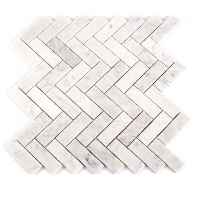 Carrara Marble White Herringbone