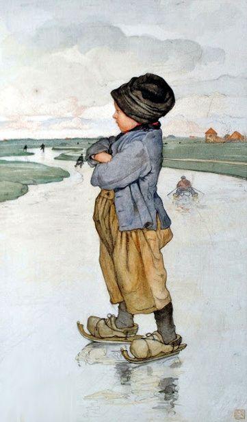 wintertijd..schaatsen op ijs,
