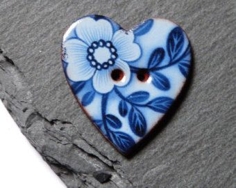 Ceramic Button Heart Shaped With Blue Floral Pattern Handmade In The UK