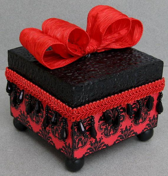 Victorian Decorative Boxes | Chic Red Victorian Keepsake Trinket Decorative Box by funkyart08, $32 ...