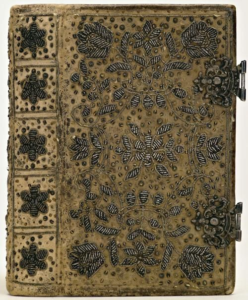 Silver embroidered suede bookbinding, made in the Netherlands, 1668-1700 (via)