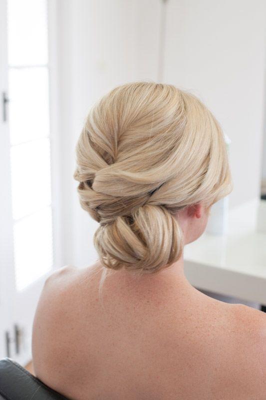 www.facebook.com/evalynparsonshair Soft bun style. Glamorous bride