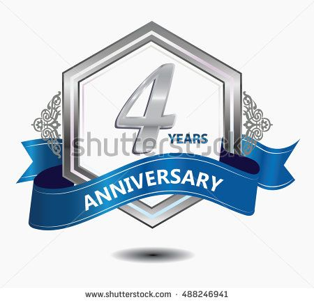4 years anniversary hexagonal style logo with silver combination red ribbon. anniversary logo for celebration, birthday, wedding, party. anniversary logo 4th