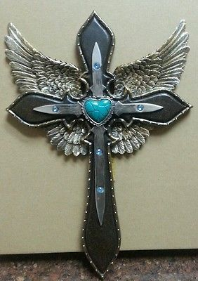 Western Blue & Gold Winged Cross With Turquoise Heart Wall Plaque\Home Decor