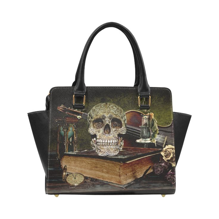 Old Skull and Book Classic Shoulder Handbag (Model 1653)