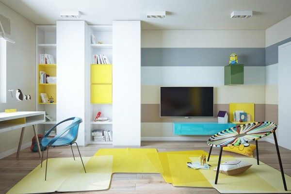 This is a brilliant idea for kids bedrooms/playrooms. This way you can keep it neutral, but yet playful for them.