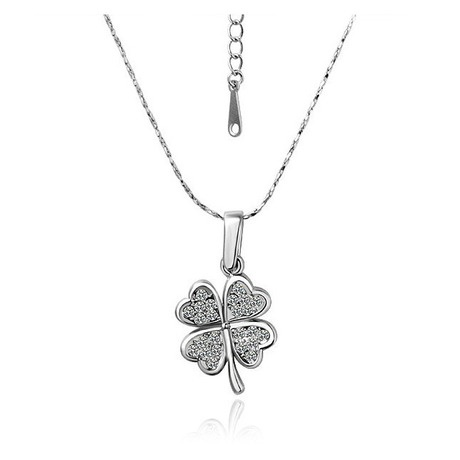 Silver tone Crystal Lucky Leaf Necklace $17: Leaf Necklace