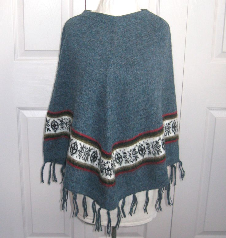 alpaca poncho . blue poncho . made in Peru . Peruvian alpaca poncho . hand made poncho . folk poncho by vintagous on Etsy