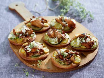 Minipizzaer med kantareller