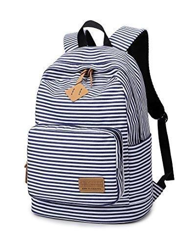 Striped-Canvas-Backpack-Girls-School-Bag-Women-Casual-Travel-Daypack-Blue ce9de2e3a6