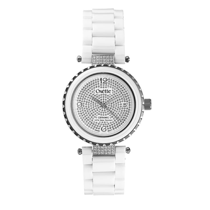 Oxette White Ceramic Watch - Available here http://www.oxette.gr/rologia/s.steel-rose-watch-ceramic-with-cz666l-1/         #oxette #OXETTEwatch #watches