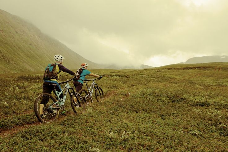 Climbing to top of the Tamokfjellet at Norway with Pole Bicycles.