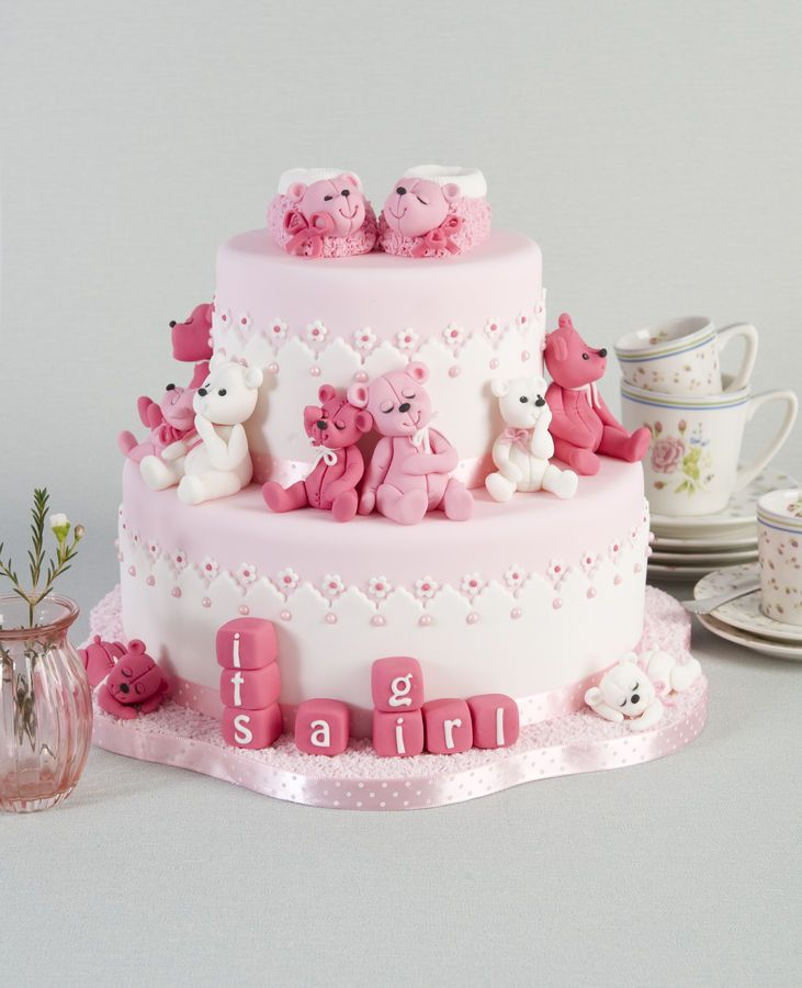 This is the baby girl birth cake that I made for my book, happy cake days