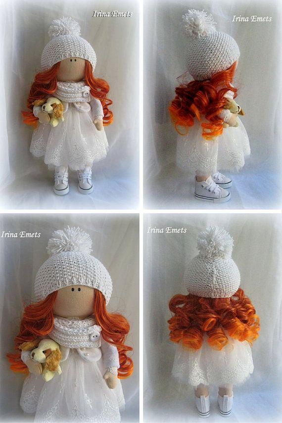 Tilda doll Handmade doll Fabric doll red white color Soft doll Cloth doll Baby…