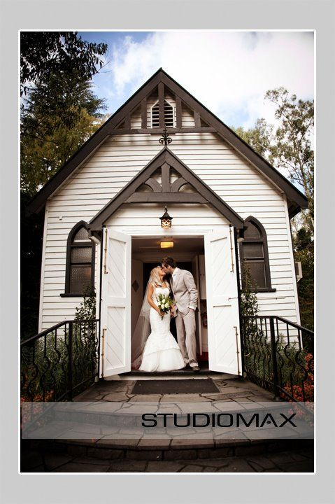 Studio Max at the front of our heritage listed chapel. #chateauwyuna #wedding #bride #groom #mrandmrs #weddingreception #married #photoshoot #chapeldoors