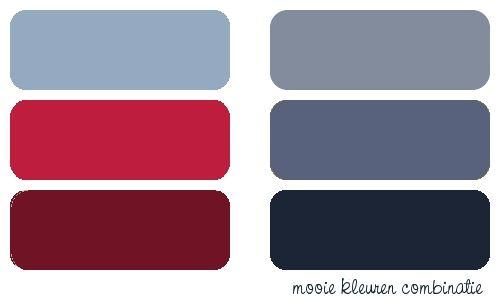 Vergrijsd blauw met zwart en rood | villa d'Esta | interieur en wonen